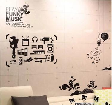 Music Graffiti Wall Stickers Home Decoration Abstract Personality Wallpaper  Restaurant Cafe Pub Bar Wall Decals Design Wall Decals Design Wall Stickers  From ...