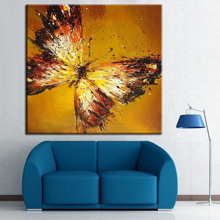 2017 Household Adornment Picture Orange Hand Painted Oil Painting Butterfly  High Quality Painting Living Room Decor Unique Gift From Mynameissheng, ... Part 78