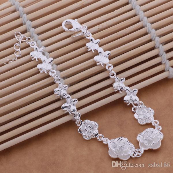 Bela flor projeto 925 sterling silver charme pulseiras moda jóias presente de casamento para a mulher Top qualidade frete grátis