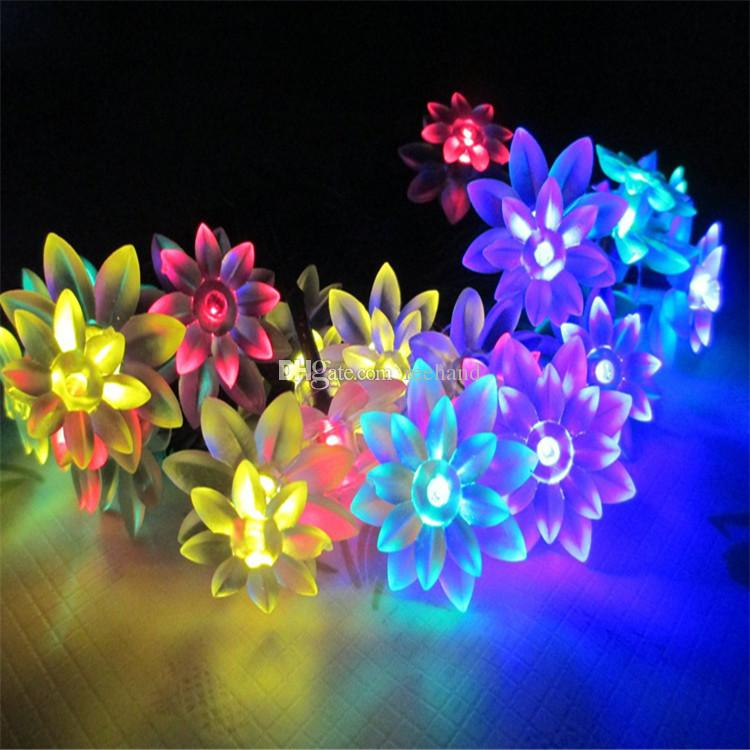 solar power lotus flower led strings light christmas fairy lights battery powered 2030 leds lighting for party holiday decoration ss 07 - Christmas Fairy Lights