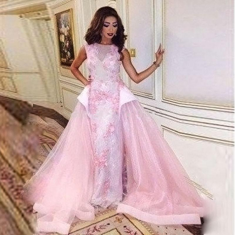 2016 Pink Arabic Evening Gowns Women Formal Dress Abaya Fancy Long ...