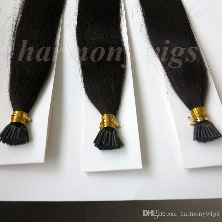 Pre bonded vara eu dica extensões de cabelo humano brasileiro 100g 100 vertentes 18 20 22 24inch # 1b / off produtos de cabelo indiano preto