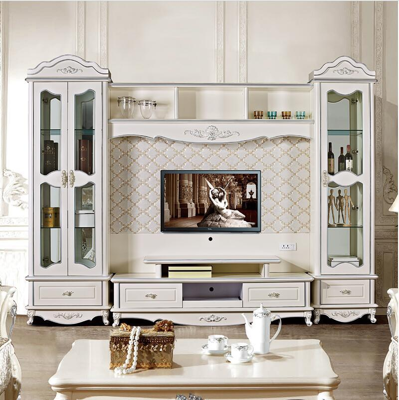 European Style TV Stand Living Room Furniture Assemble Cabinet W0274