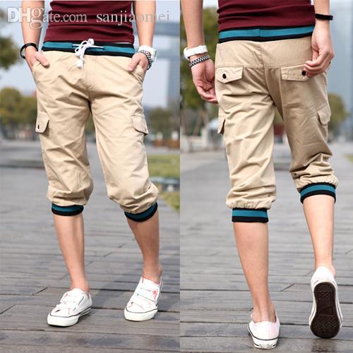 Discount Wholesale Summer Mens 3/4 Pants Three Quarter Drawstring ...