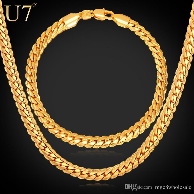 2018 U7 Steampunk Classic Chains Set Black Gun18k GoldRose Gold