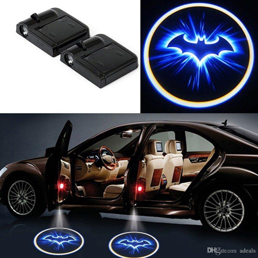 1Pair Wireless LED Car door Light Welcome Lamp Projector Cool Logo ghost shadow light Batman Logo No Drill Type