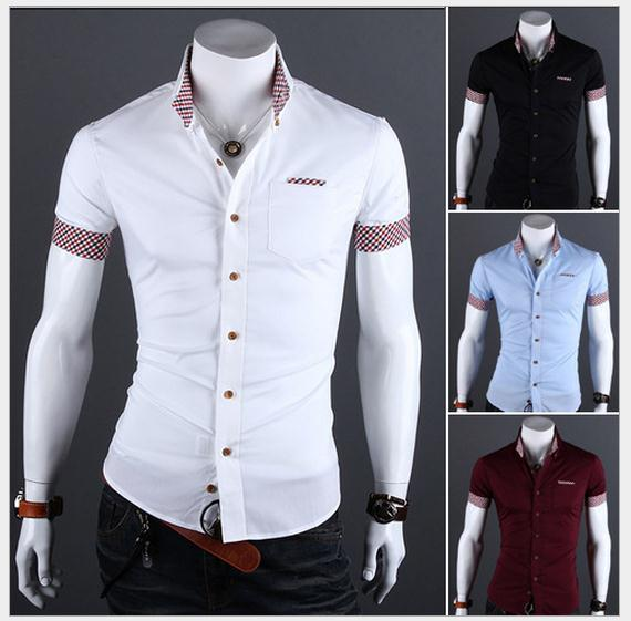 2017 2015 Fashion Summer Mens Shirts Slim Solid Color Mens Casual ...
