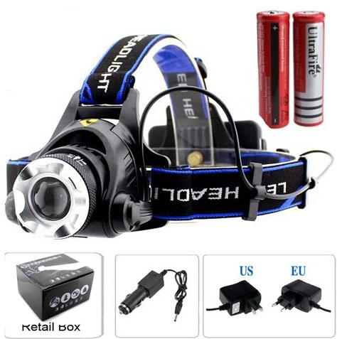 2000 Lumens CREE XM-L XML T6 LED Headlamp Headlight Flashlight Head Lamp Light + 2*18650 battery + charger + Car Charger(V9 T6)