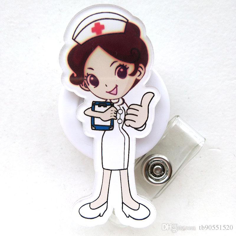 Acrylic Nurse Doctor Retractable Pull Badge Reel ID Lanyard Name Tag Card Badge Holder Reels doctor nurse supplies