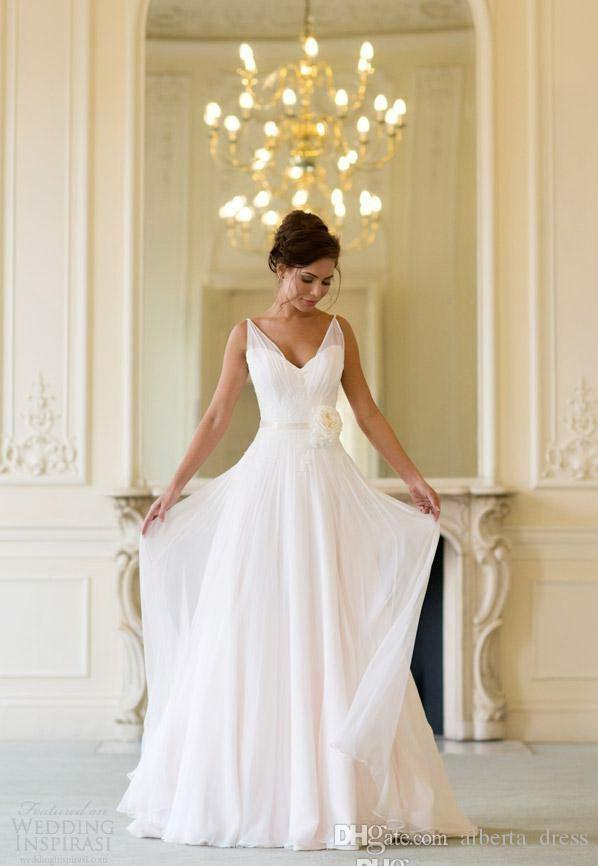 Spring Summer Chiffon A Line Wedding Dresses Flow Cheap Bridal Gowns V neck Backless Sheer Straps Wedding Dress Plus Size Maternity