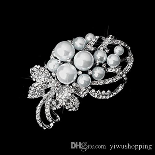 3 Inch Silver Plated Clear Crystal Rhinestone With Pearl Bunch Flower Rhinestone Crystal Large Bridal Brooch