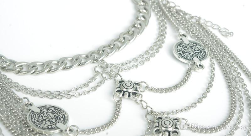 البوهيمي خمر والفضة والمجوهرات أساور متعدد الطبقات عملة سحر زهرة خلخال النساء القدم
