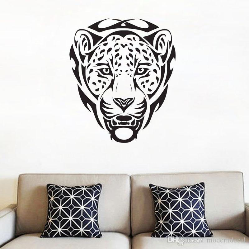 head of leopard wall decals african animals home decor wall stickers