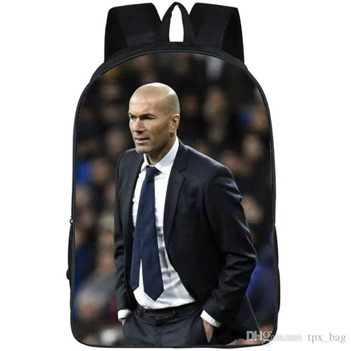 Best backpack luggages Zinedine Zidane daypack Football picture schoolbag Photo rucksack Sport school bag Outdoor day pack