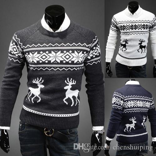 64a65829b0182d 2019 New Fashion Brand Deer Knitting Christmas Sweater Pullover Men Slim  Fit Mens Sweaters O Neck Pull Homme Winter Sweater Men From Chenshuiping,  ...