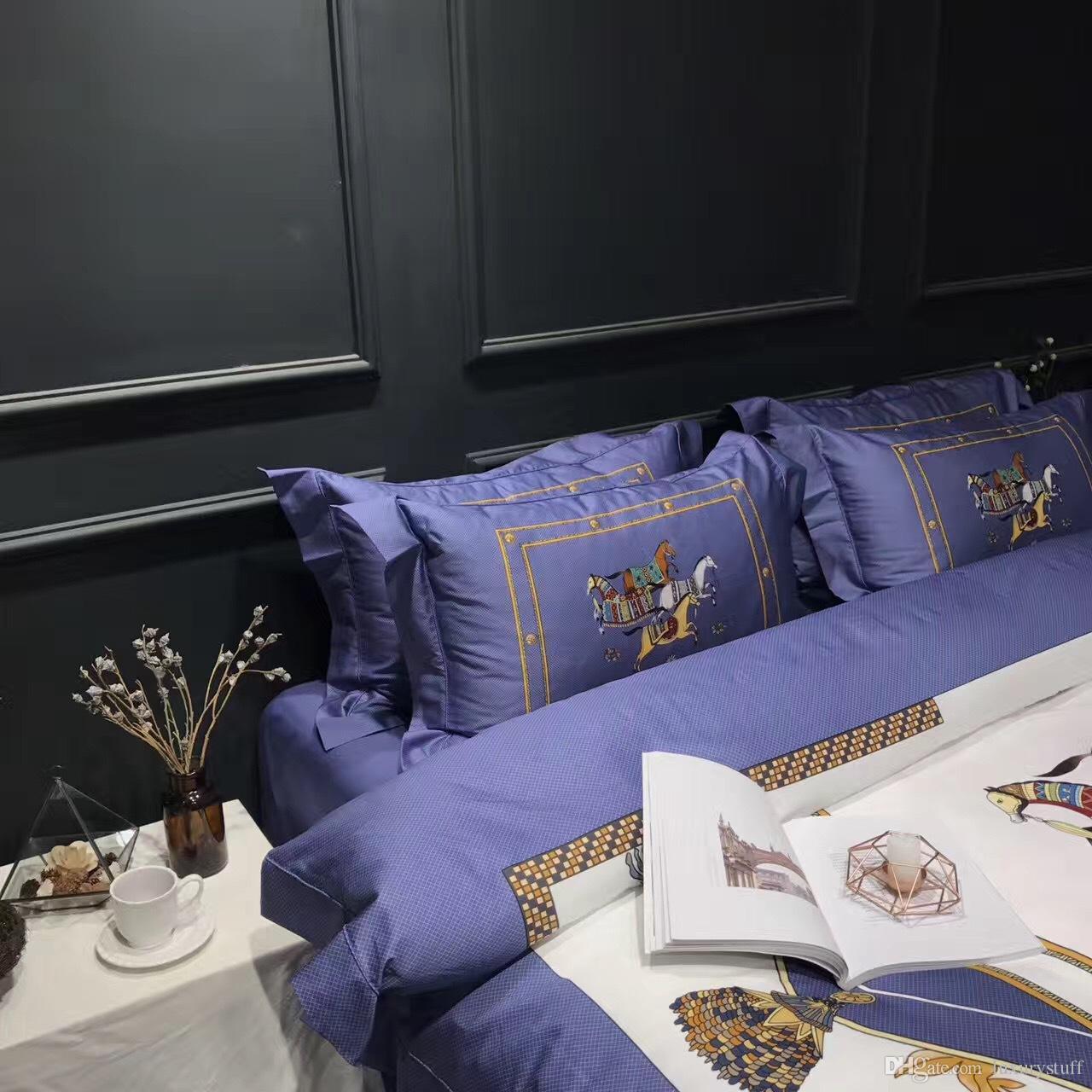 biancheria da letto delle ragazze set cotone di lusso biancheria da letto di cotone blu cavallo comforter set biancheria da letto in raso re consolatore copripiumino