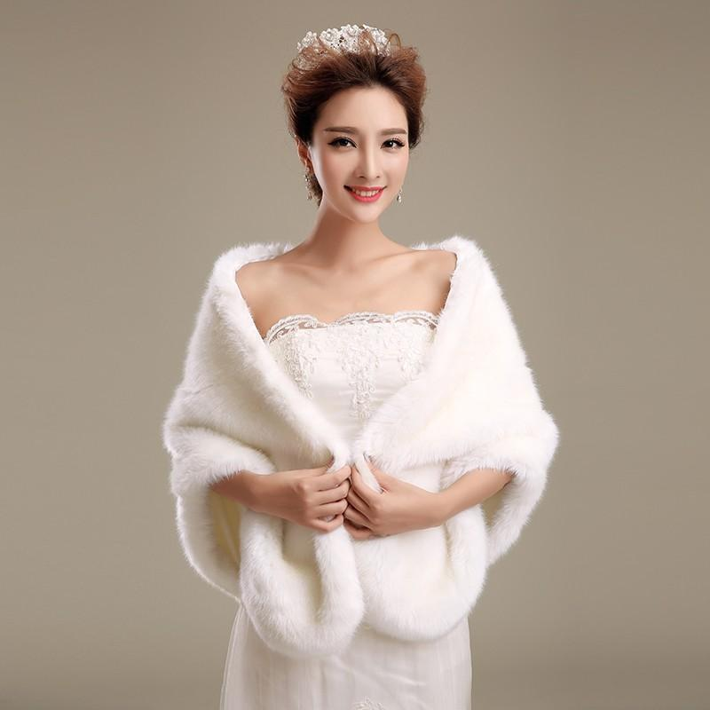 92b709e68c0 2019 2018 Faux Fur Wedding Shrug Cape Stole Wrap Shawl Bridal Prom Evening  Party Women Fashion Ivory Elegant Bolero In Stock Regular Size Winter From  ...