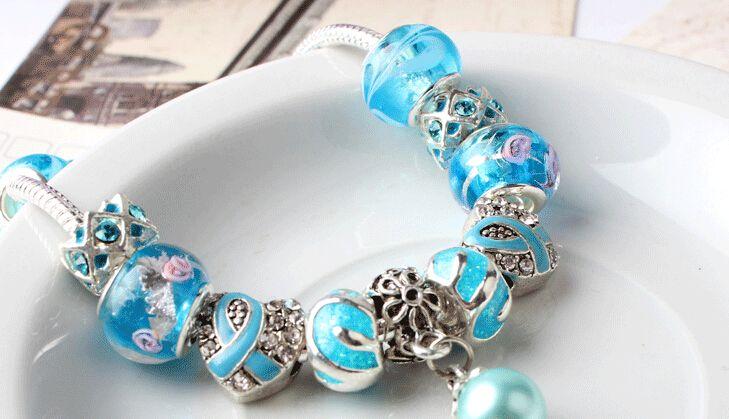 Fashion Diy Silver Plated Bracelet European Crystal Blue Murano