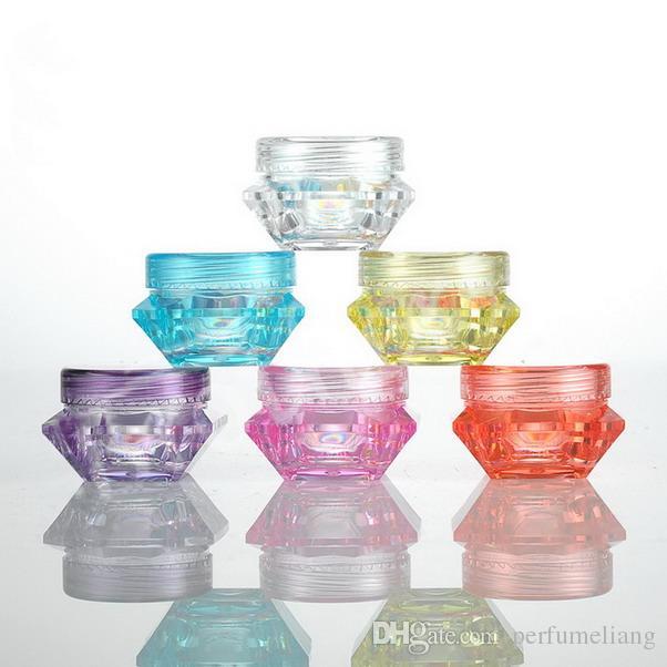 3g 5g colorido diamante forma recipientes vazios de cosméticos tampas de rosca da amostra recipientes frasco frascos de creme de cuidados da pele pot latas