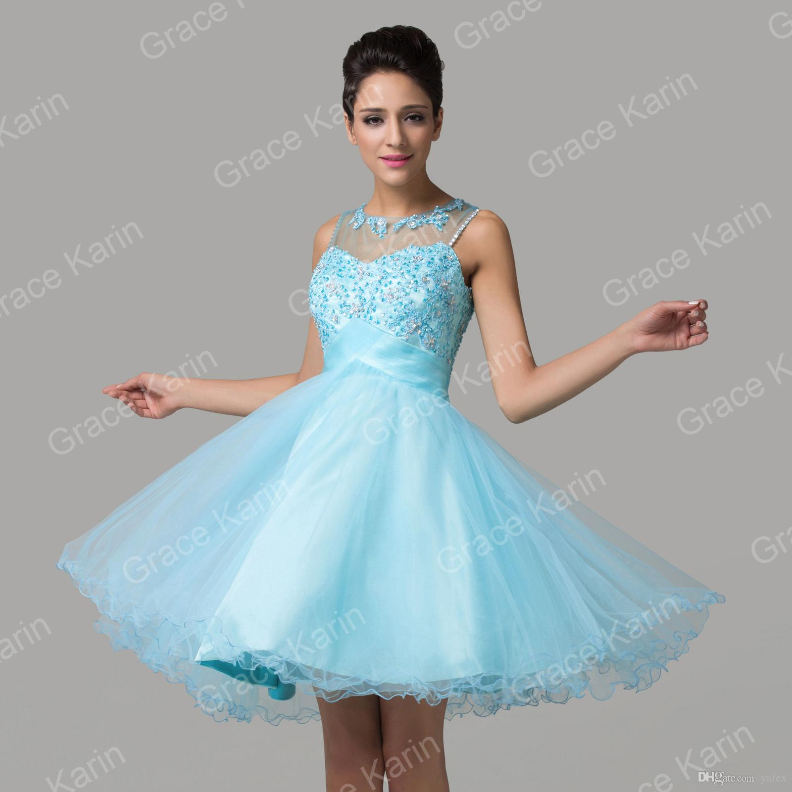 New Popular Design Short Sheer Prom Dresses Crew Neck Appliques ...