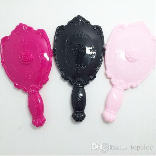 Lady Vintage Rose Miroir cosmétique Miroir de maquillage en plastique Cute Girl Main Make Up Noir Blanc Rose