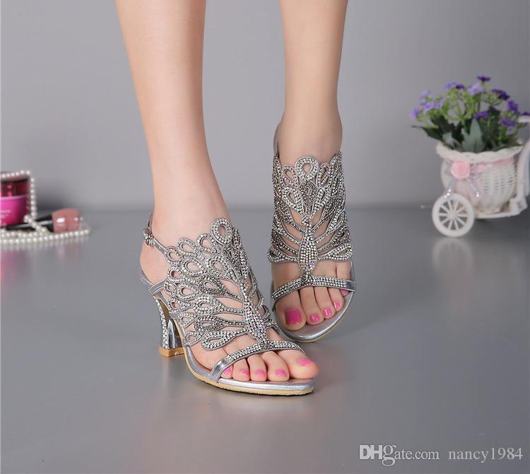 Estate nuovi sandali tacco grosso floreale argento abito da sposa scarpe strass lussuoso tacco alto prom party in vera pelle