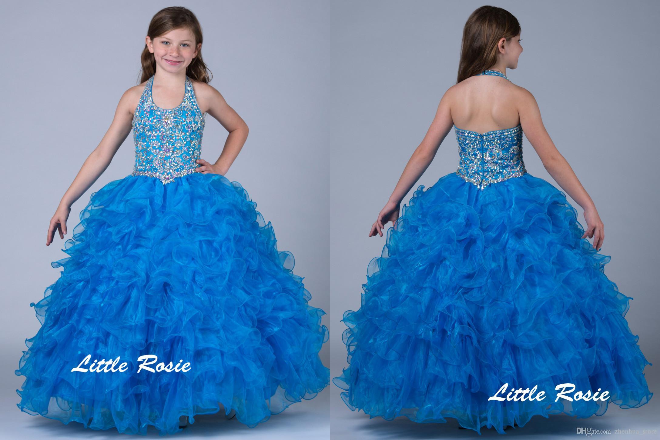 Blue Little Girls Pageant Dresses Ball Gown Sequins Halter Long Kids ...