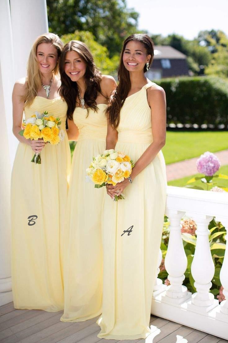 Mix And Match Giallo Bridesmaids Abiti formali Moda senza maniche A-Line Piega Abiti in chiffon Abiti le donne Spose Maids Abiti da sposa