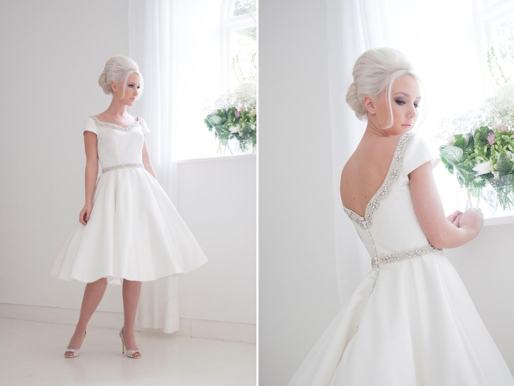Discount 1950s Vintage Wedding Dresses Short Sleeves V Neck Bride ...