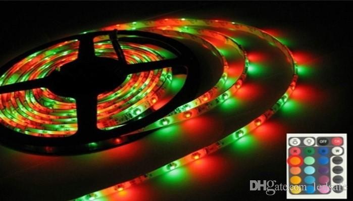 Waterproof IP65 LED Ribbon 5m SMD 3528 RGB Strip Light 12V 300LEDS Tapes Ruban 24W with 24 Keys Remote Controller 2A Power Supply Adapter