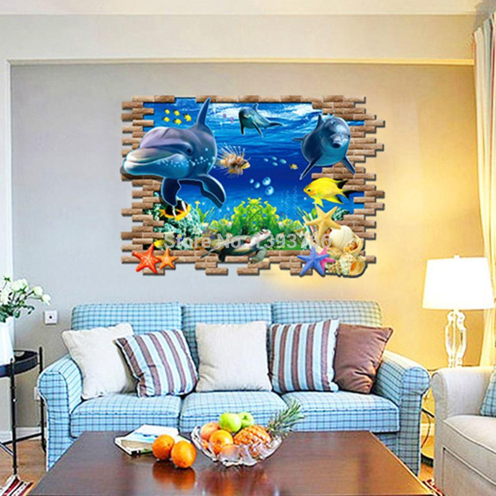 3d fish seabed living room wall sticker kids room wall decals baby see larger image amipublicfo Images