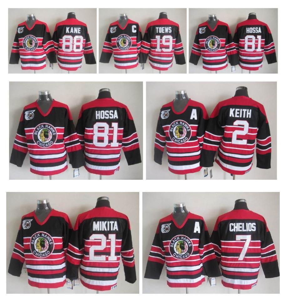 Chicago Blackhawks 75th Anniversary Ice Hockey Jerseys 2 DUNCAN KEITH 19  Jonathan Toews 81 Marian Hossa 88 Patrick Kane 21 Stan Mikita Nhl Hockey  Jerseys ... c6ec8b0967e