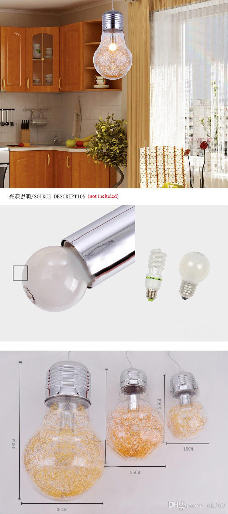 Stylish Big Bulb Modle Pendant Lamp New Modern Dining Room Aluminum Wire inside Glass ball Lampshade Pendant Light Fixture