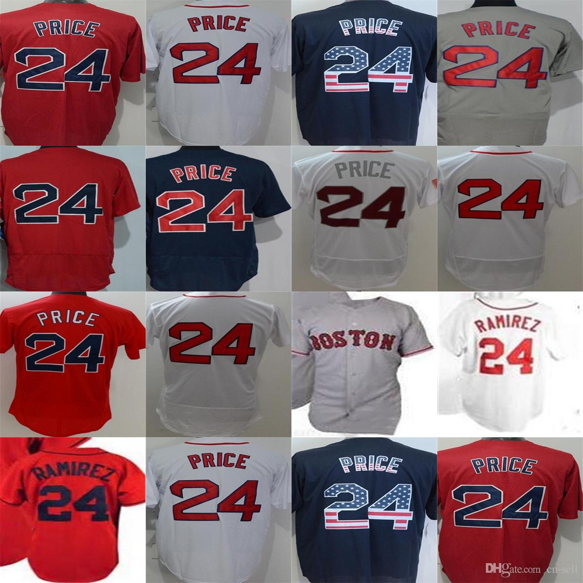7076694f8d3 ... cool base jersey  2018 2017 boston 24 manny ramirez david price mens  womens youth home away navy blue white