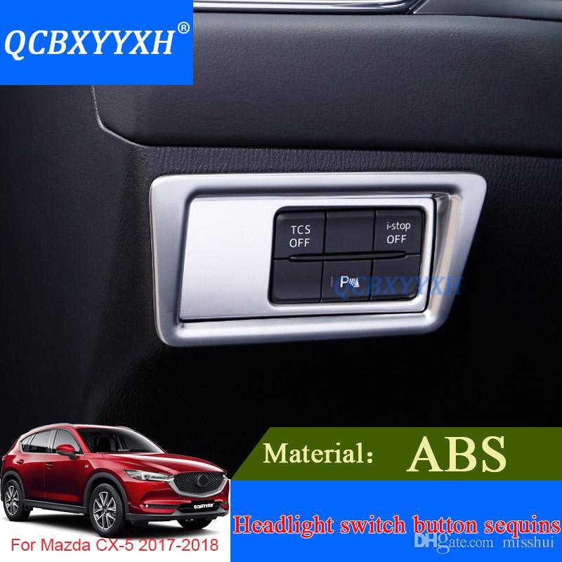 QCBXYYXH 내부 장식 스티커 Mazda CX-5 2017 2018 내부 커버 용 스포일러 ABS 자동차 스타일링 헤드 라이트 스위치 스팽글