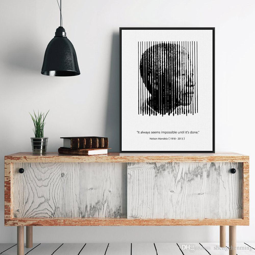 2019 Black White Africa Mandela Silhouette Portrait Motivational