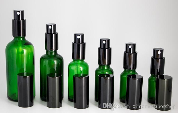 Commercio all'ingrosso 10ml-15ml-20ml-30ml-50ml-100ml bottiglie di vetro verde spray contenitori vuoti spruzzatore con pompa nera la nebbia di olio di profumo DHL libero