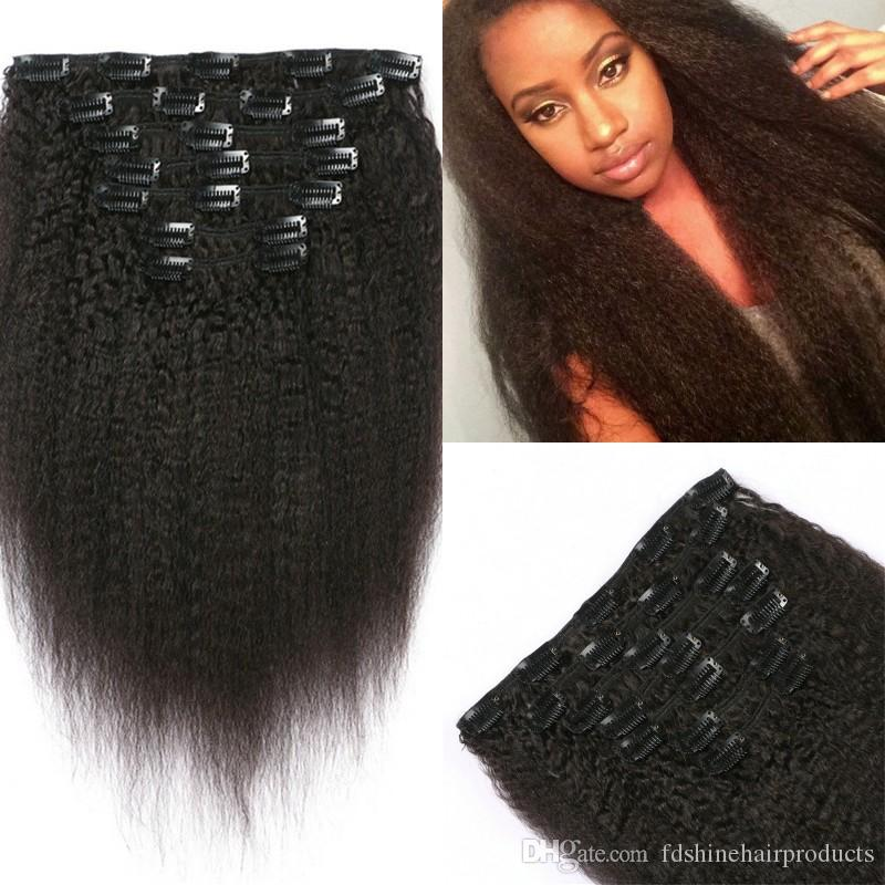 Burmese Virgin Hair Extensions 120g Full Head Kinky Straight Clip In