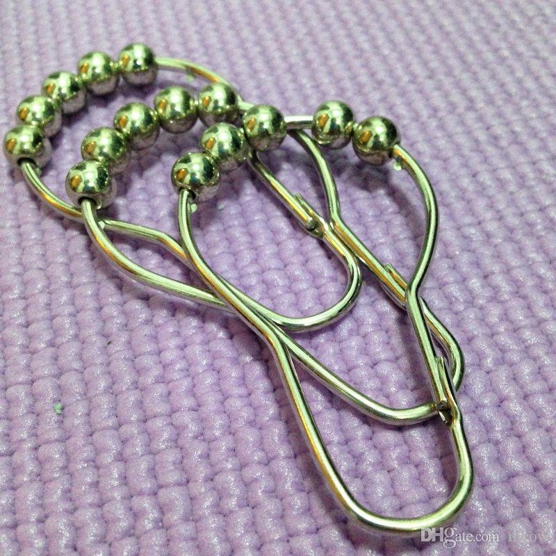 Rideau de Douche Roulant Crochets Anneaux Rouleau 5 Perles Coulissante Facile Mute Durables Poulie de Rideau de Douche Chrome Miroir Fini / set