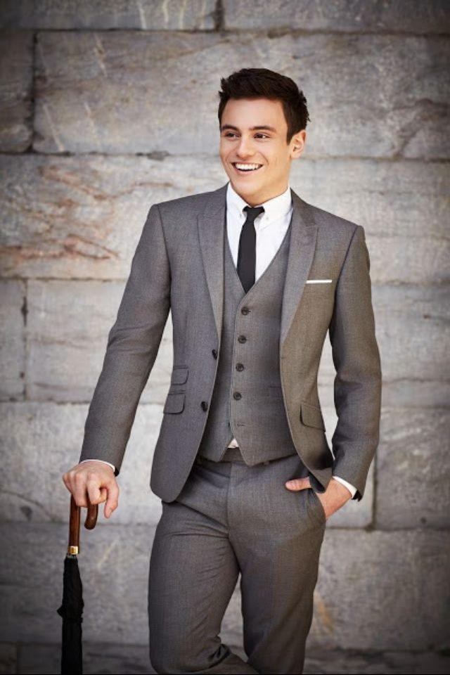 2015 Grey Wedding Suits For Men Tuxedos Peaked Lapel Prom Mens Suits ...