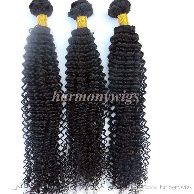 Cabelo brasileiro virgem tece feixes de cabelo Humano Kinky Curly tramas 8 ~ 34 polegadas Não Transformados Extensões de cabelo Humano Indiano Malaio Indiano