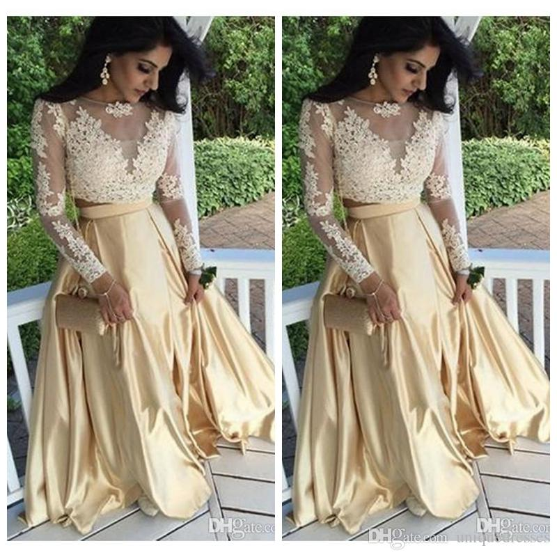 Seksi Altın Elbiseler İki Adet Balo Elbisesi 2018 Dantel Aplikler Illusion Uzun Kollu Artı Boyutu Pageant Elbise Örgün Parti Akşam giymek