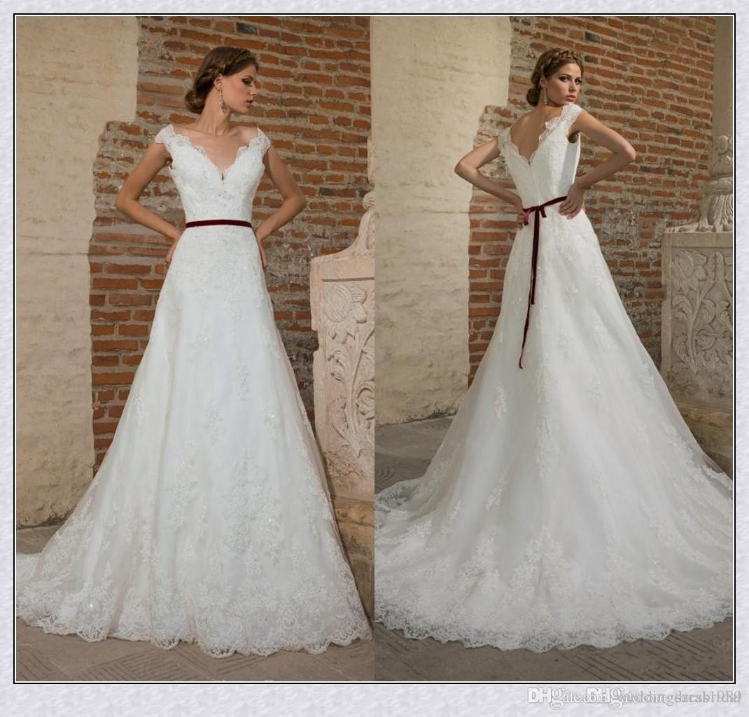 Discount Beautiful V Neck Full Lace Wedding Dresses Sash Spring ...