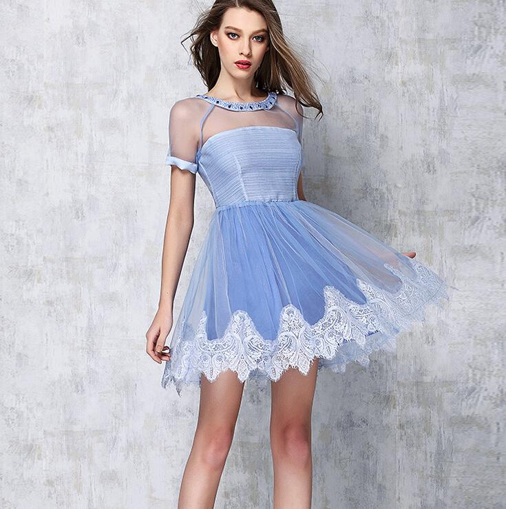 2016 Women Clothes Summer Sexy Cocktail Dresses Ldies Diamond Lace Tutu Skirt Dress Round Neck Sheer Fashion Party Casual dresses for womens