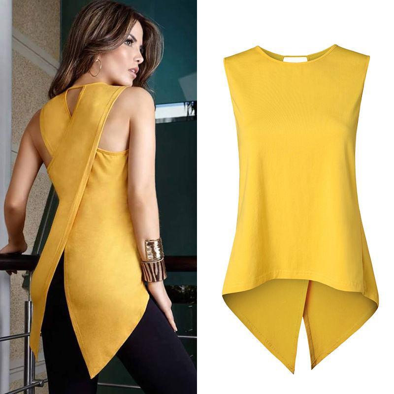 7417973ed7b Wholesale- Newest Fashion Women Sleeveless Clothes Shirt Ladies ...