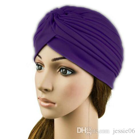 Fashion Stretchy Turban Head Wrap Band Chemo Bandana Hijab Pleated Indian Cap warm Hat colorful