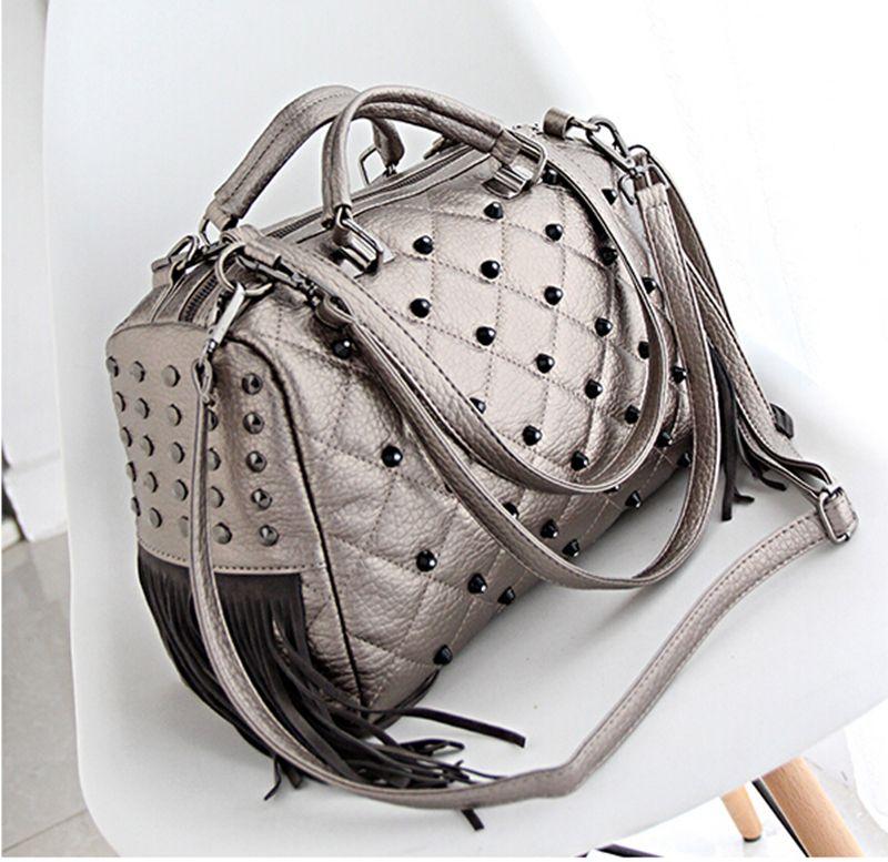 2017 New trend Pillow Shape designer tote bags PU Boston Bags lady Rivet hand bags