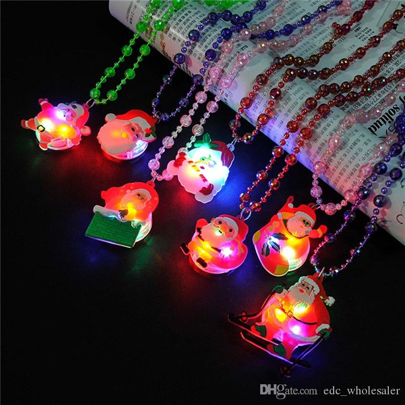 cheep glow up flashing led necklace for christmas kids colorful beads chain led light cartoon santa claus pendant necklace party favors christmas necklace