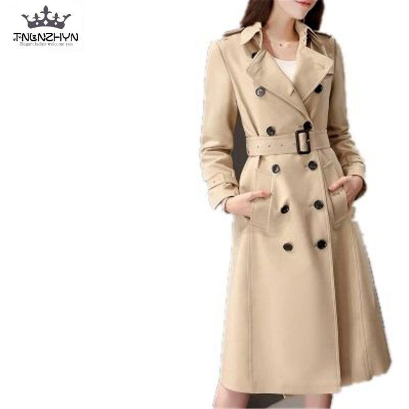 TNLNZHYN 2017 Nueva Primavera Mujeres Trench Coat Medio Largo Moda Doble botonadura Capa Larga Mujeres Cazadora Delgada Outwear SK274