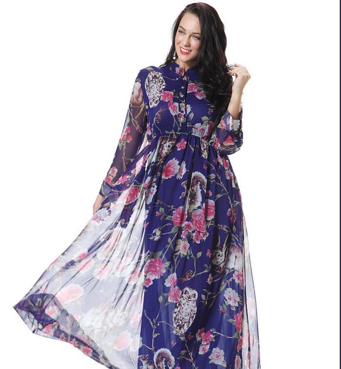 2016 primavera nuovi abiti casual in chiffon la moda donna Stampa floreale Stand colletto a maniche lunghe con tasca Maxi Dress Plus Size M-6XL